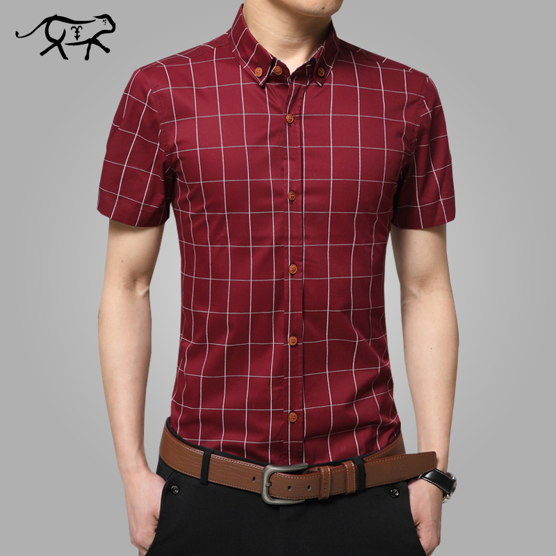 2018 Нові чоловічі сорочки з коротким рукавом плюс розмір M-5XL Бавовняні сорочки плед чоловічі випадкові Модні чоловічі сорочки slim fit смугасті сорочки чоловіки
