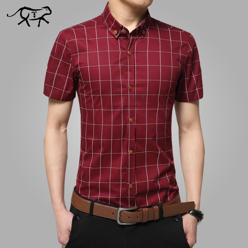 2018 Nya kortärmade herrtröjor plus storlek M-5XL Cotton Plaid skjortor man casual mode herrtröjor smal passform randiga skjorta män
