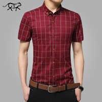 2018 nouveau à manches courtes hommes chemises de grande taille M-5XL coton chemises à carreaux mâle décontracté mode hommes chemises slim fit rayé chemise hommes