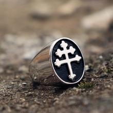 EYHIMD классический крест Lorraine серебряные кольца-печатки мужские из нержавеющей стали байкерское кольцо Байкерская мода ювелирные изделия