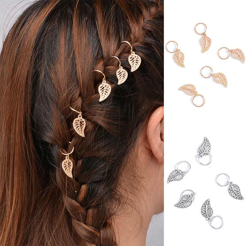 熱い販売1セットツイスト編み込み髪飾り用女性チャーミング合金サークルフープ人格三つ編みdiyペンダントヘアaccessori