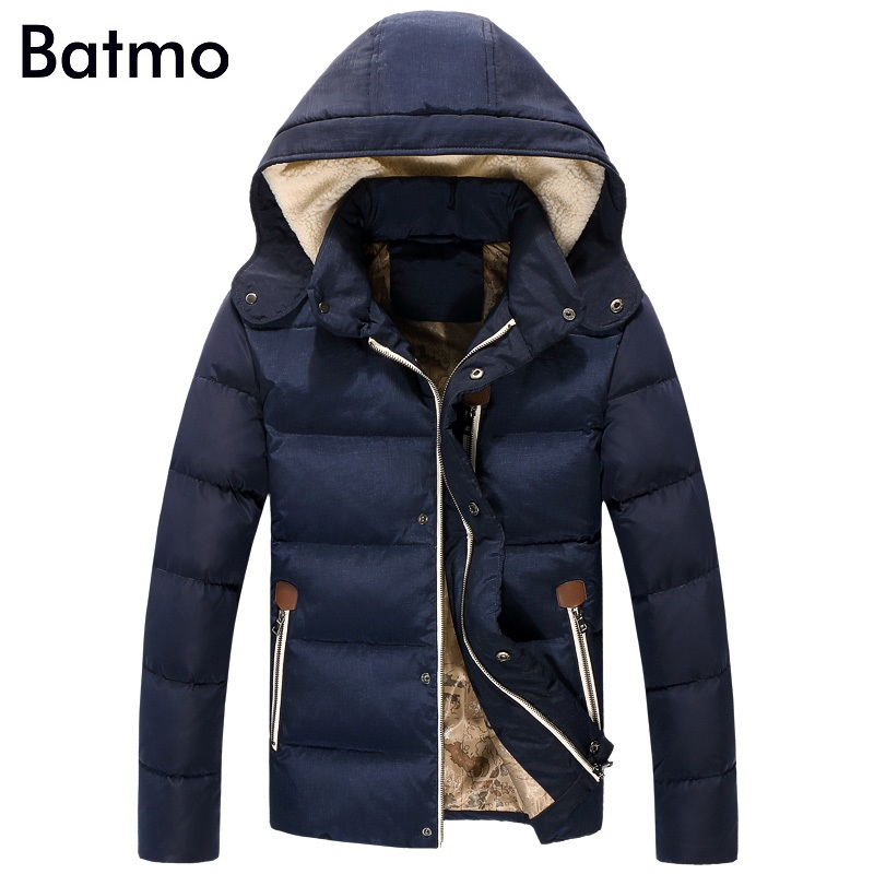 Batmo 2017 new winter keep warm White duck down hoody jacket men,M,L,XL,2XL,3XL, navy blue&gray winter coat men