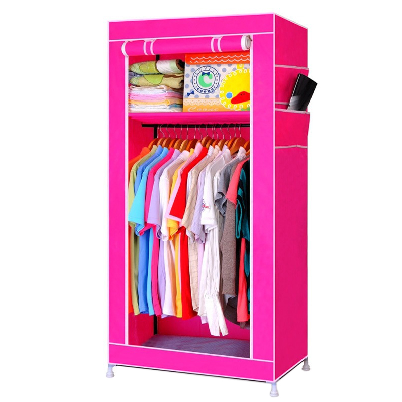 Single Canvas Wardrobe Bedroom Hanging Storage Furniture 2 Shelves Wardrobes Rose Red сабо modis modis mo044awbkhb1
