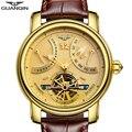 Роскошные деловые мужские часы GUANQIN  автоматические часы с турбийоном  мужские водонепроницаемые светящиеся механические часы с календаре...