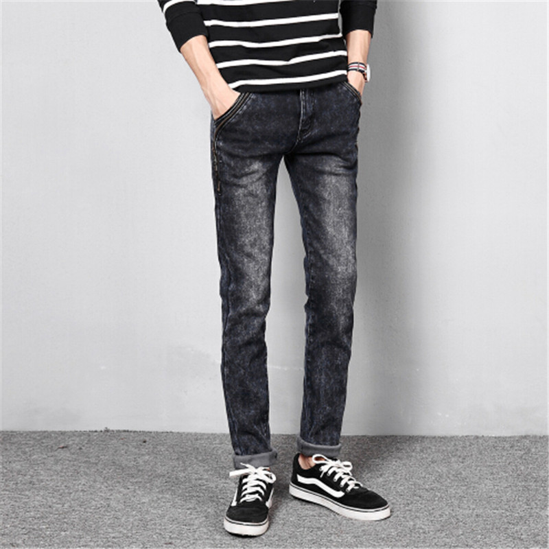 ФОТО Winter Metrosexual Velveteen Thickened Warm Jeans Joggers Pants Men Jeans Slim Fit Black Jeans Men Pants Famous Brand Clothing
