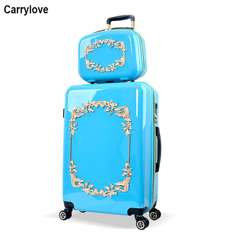 Rolling Luggage Honest Carrylove 20 24 Inc Women Luxury Rolling Luggage Set Kinder Koffer Travel Trolley Bag With Cosmetic Bag Clear-Cut Texture Luggage & Bags