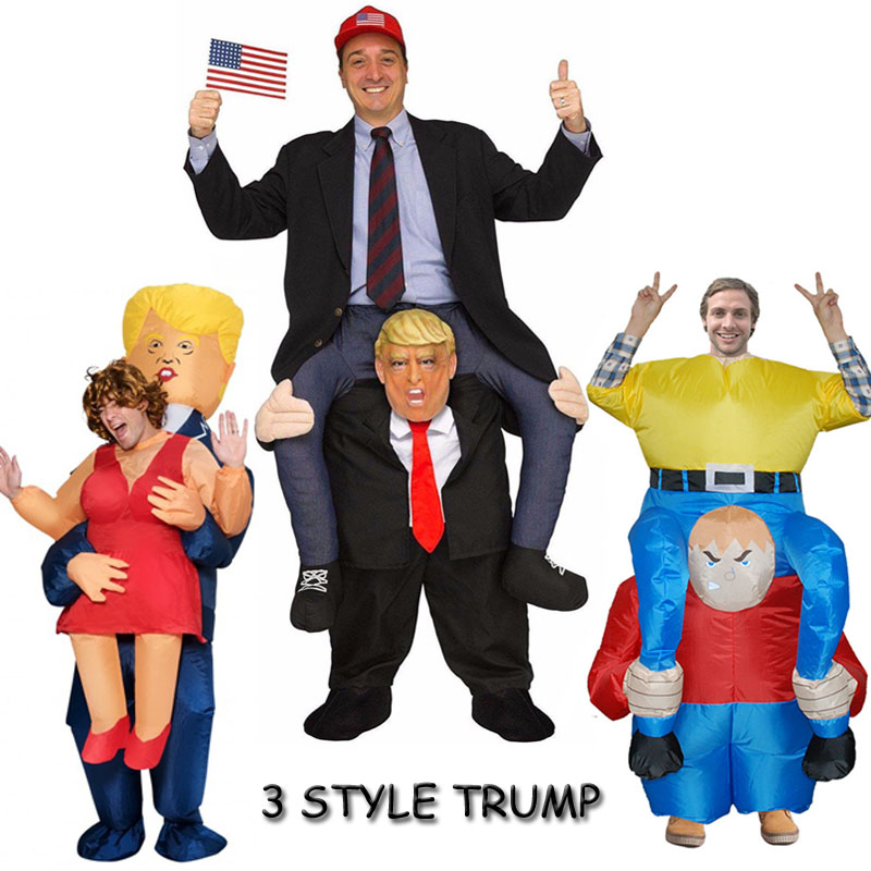 Donald Trump Mask Adult Cosplay Clothes Ride On Me Mascot Costumes Carry Back Novelty Toys Halloween Party Dress Up Fun Disfraz