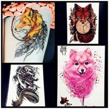 Fashion Sexy Fox Temporary Tattoo Women Body ARt Flash Tattoo Stickers 21x15CM Flying Black Dragon Tatoo