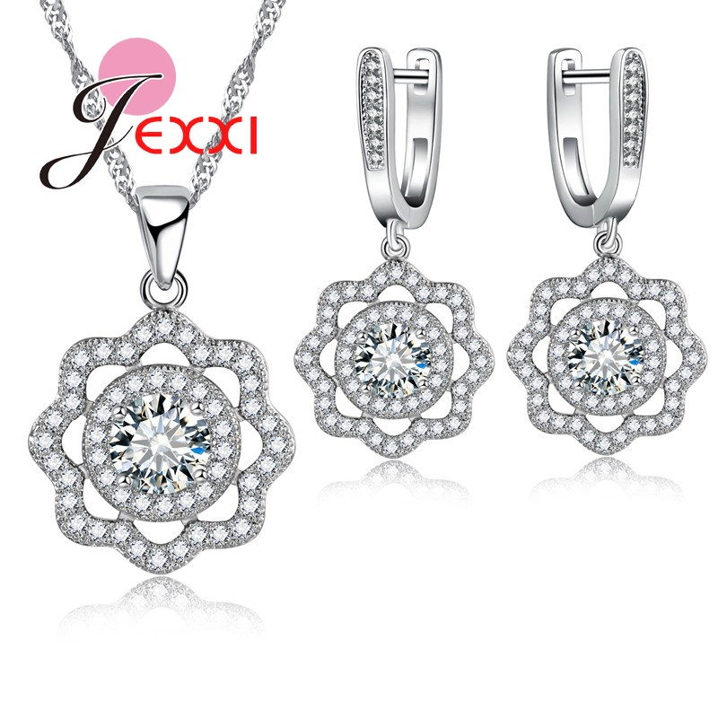 JEXXI Fashion Brand Wedding Bridal Jewelry Set For Women 925 Sterling Silver CZ Diamond Pendant Necklaces Earring Jewellery Sets