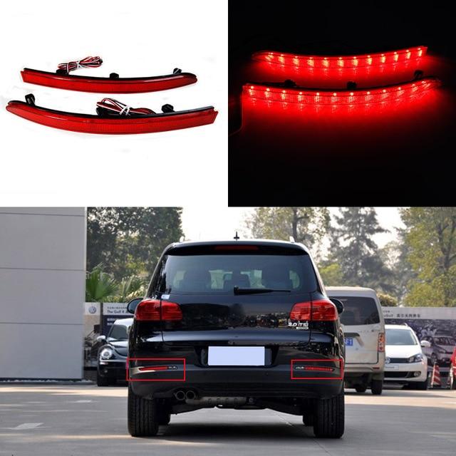 Refletores traseiros levaram luz para volkswagen tiguan 2011-2012 vermelho brilhante lente luz de Nevoeiro da Cauda Parada Freio Do Carro Auto À Noite Correndo luzes