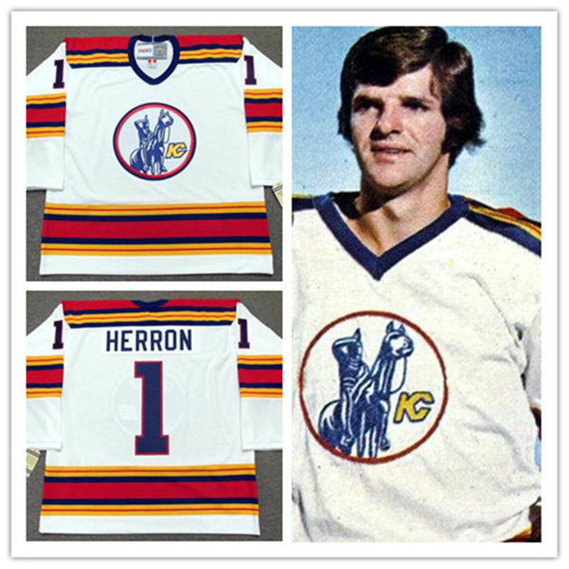 #1 DENIS HERRON KANSAS CITY SCOUTS Ice Hockey Jersey White Throwback Embroidery Stitched Custom any Number and name Jerseys new arrived 2016 team uniform factory oem hockey jerseys embroidery mens tackle twill usa canada czech republic australia