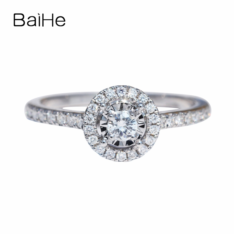 BAIHE Solid 14K White Gold(AU585) 0.10ct Certified H/SI 100% Genuine Natural Diamond Engagement Women Trendy Fine Jewelry RingBAIHE Solid 14K White Gold(AU585) 0.10ct Certified H/SI 100% Genuine Natural Diamond Engagement Women Trendy Fine Jewelry Ring
