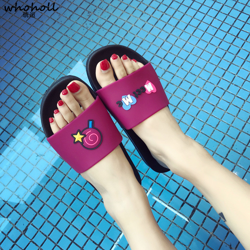 WHOHOLL Women Men Lovely Cartoon Summer Slippers  Non-slip Beach Slides Chinelos Zapatos Bathroom Home