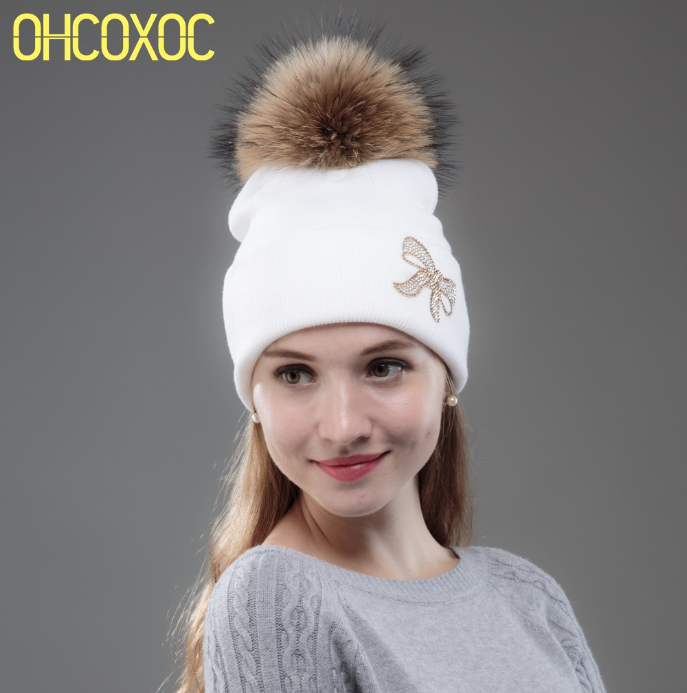 OHCOXOC New Women   Beanies   Real Mink Fur Pom Poms Ball Cap Keep Warm   Beanies     Skullies   Rhinestone Bow Autumn Winter Hat