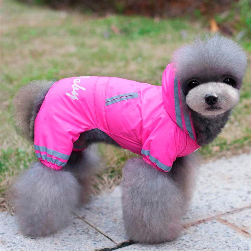4 Legs Pet dog Waterproof Raincoat Clothes with inner net walking puppy rainy day wear doggy rain coat rain wearing Clothing