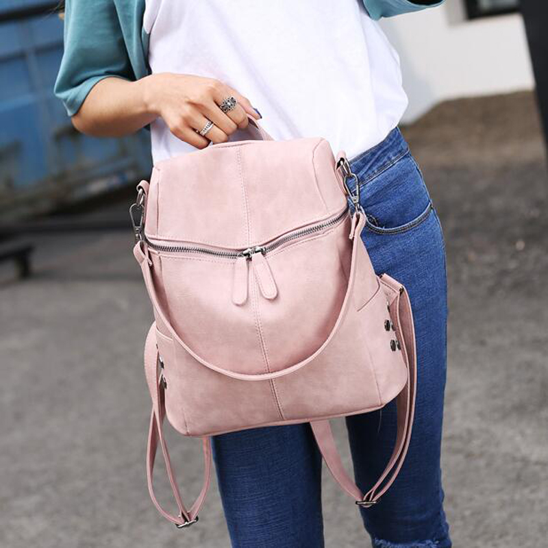 8ea0325260ae Wobag Simple Style Backpack Women PU Leather Backpacks For Teenage Girls  School Bags Fashion Vintage Solid Shoulder Bag Black -in Backpacks from  Luggage ...