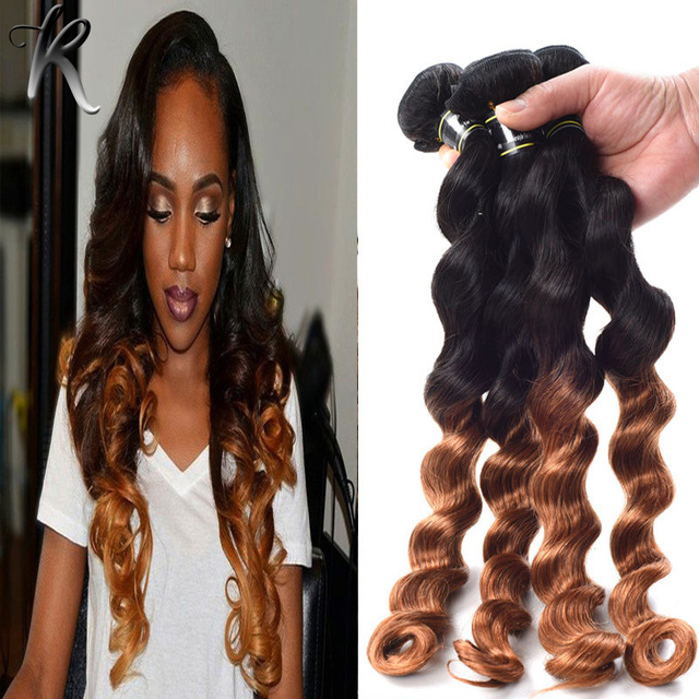 Loose Curly Wave Ombre Brazilian Virgin Hair Extensions 4pcs Black