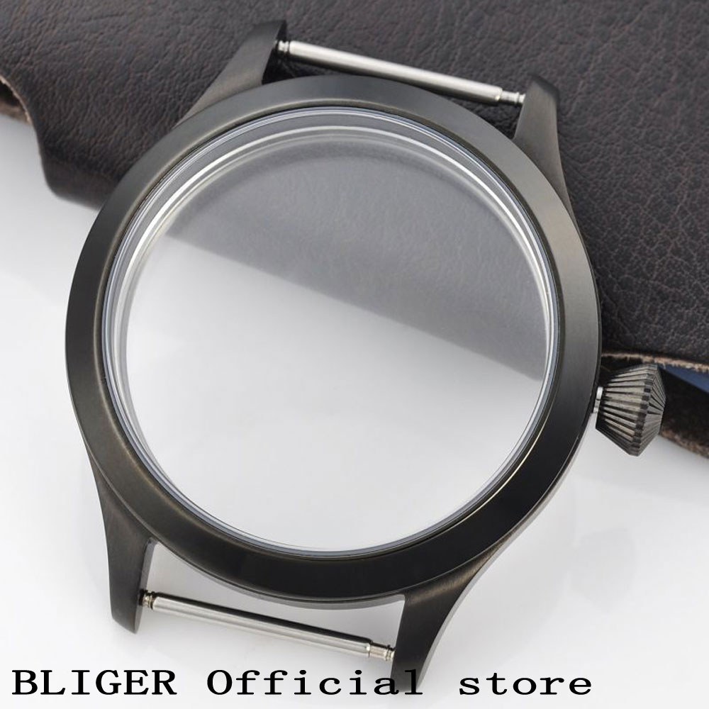 BLIGER 44MM Black Sterile Stainless Steel Watch Case Fit For ETA 6497 6498 Hand Winding Movement PVD Case For Watch Repair Tools 44mm polished stainless steel watch case with coin bezel fit for eta 6497 6498 hand winding movement c6