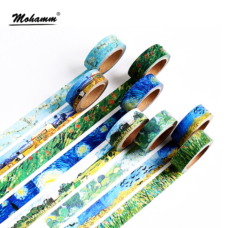 Creative Van Gogh Oil Painting Japanese Masking Washi Tape Decorative Adhesive Tape Diy Scrapbooking Sticker Label Stationery coloffice creative stationery bronzing series sweet memoria washi tape 40mmx5m for you adhesive tape scrapbooking decorative