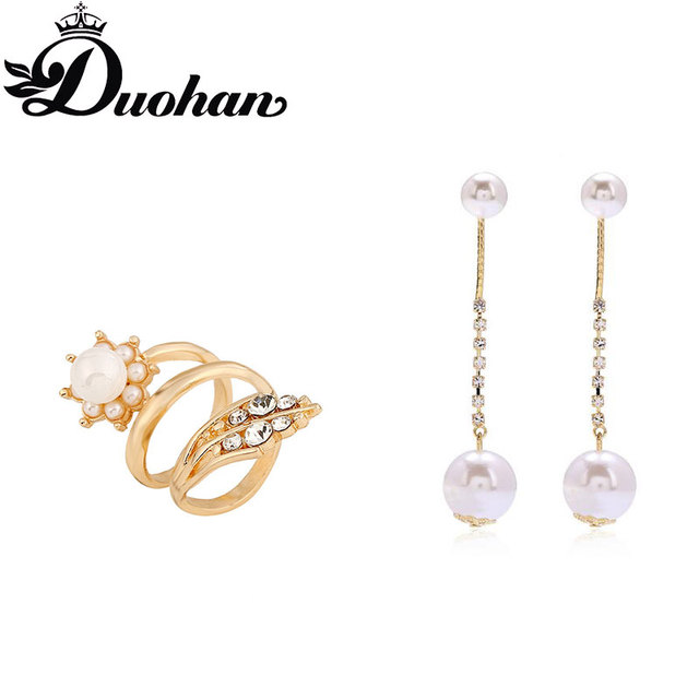 Duohan Brand Special Occasion Women S 8cm Long Pearl Earrings And Leaf Ring Set Pinup Elegant
