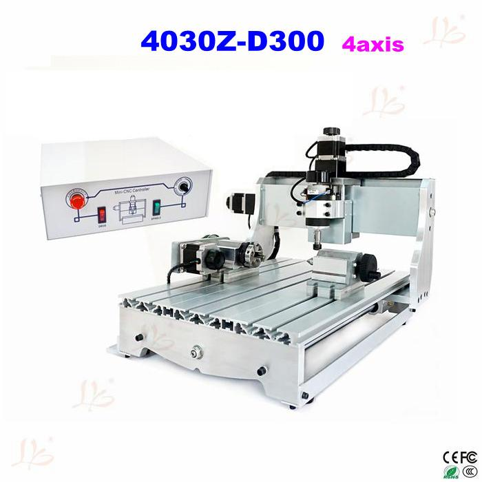 Low cost 4axis mini cnc milling machine 3040Z-D300 cnc machine with 300W cnc spindle cost justifying usability
