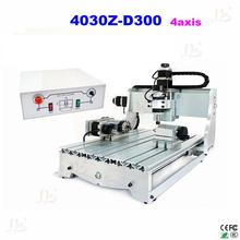 Low cost 4axis mini cnc milling machine 3040Z-D300 cnc machine with 300W cnc spindle