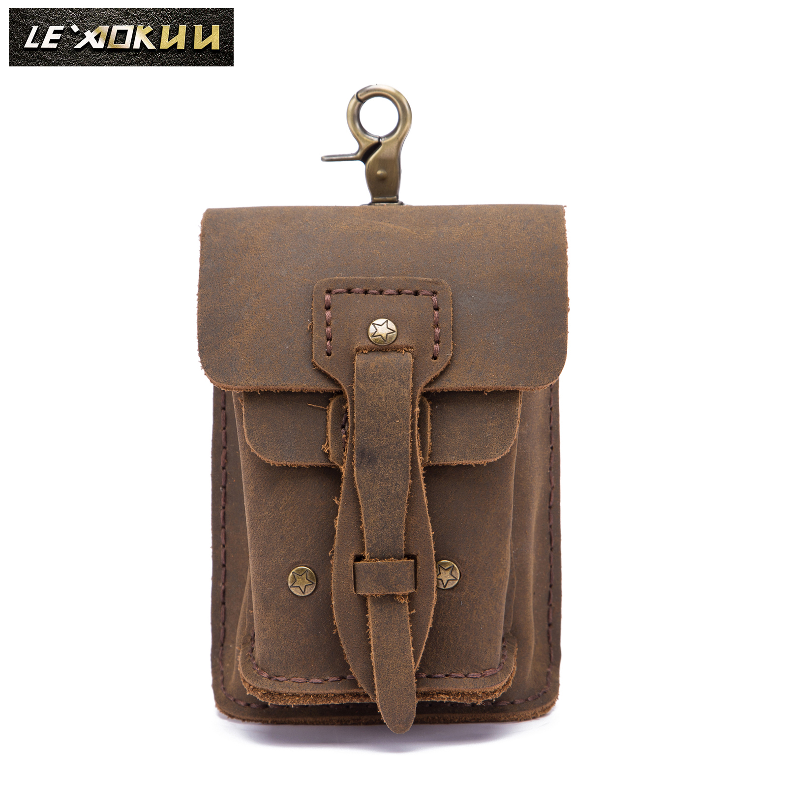 Fashion Quality Leather Small Summer Pouch Hook Design Waist Pack Bag Cigarette Case 5