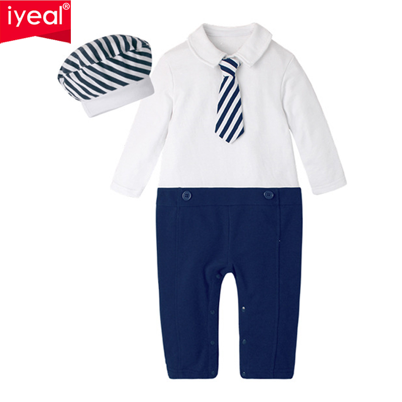 IYEAL New Fashion Newborn Toddler Infant Baby Boys Romper + Hat Long Sleeve Jumpsuit Gentleman Little Boy Outfits Kids Clothes basiс baby штанишки с боковыми кармашками little gentleman