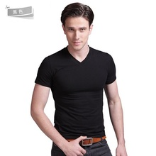 Men Plain Slim Fit Crew Neck V-Neck Short Sleeve Muscle Tee T Shirts three sizes
