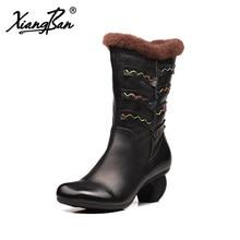 Xiangban winter women shoes handmade mid-calf women snow boots comfortable warm winter boots for women