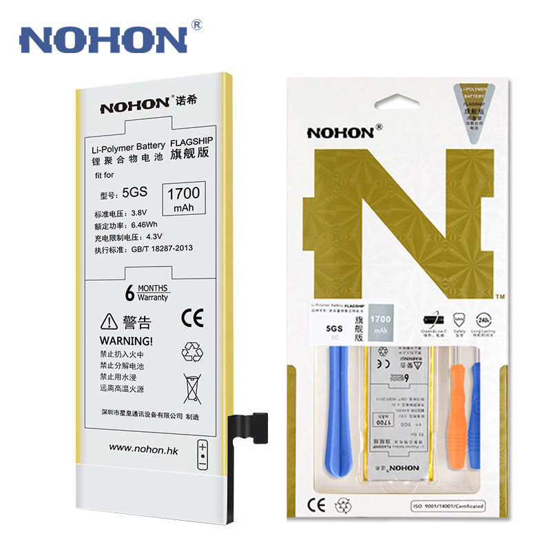 NOHON Mobile-Phone-Battery IPhone 5s Apple Original For 5GS Real-Capacity 1700mah Free-Tool