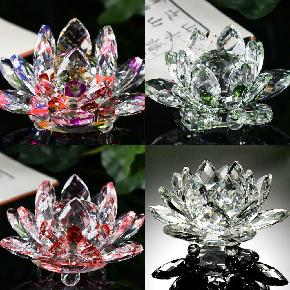 Crystal Swan Lotus Crystal Glass Figure Paperweight Ornament Feng Shui Decor Collection Ornament Feng Shui Decor Collection