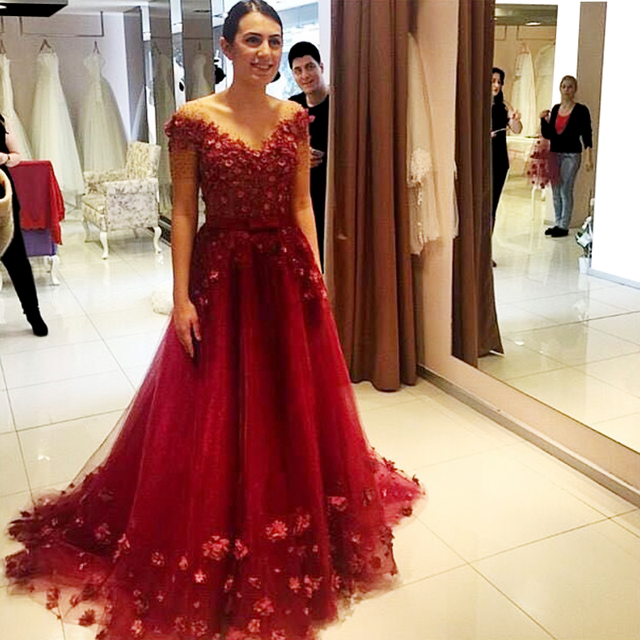 09211f82592 2016 Dark Red Flower A-Line Tulle Prom Dresses with Appliques V-Neck  Vestido De Fiesta 2016 Red Evening Gowns Handwork