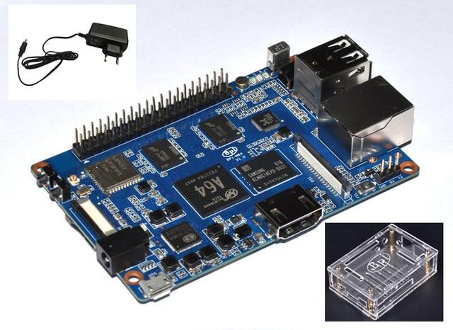 One Complete Kits 64-bit Quad-core BPI-M64 Banana Pi Board+Acylic case+DC power supply