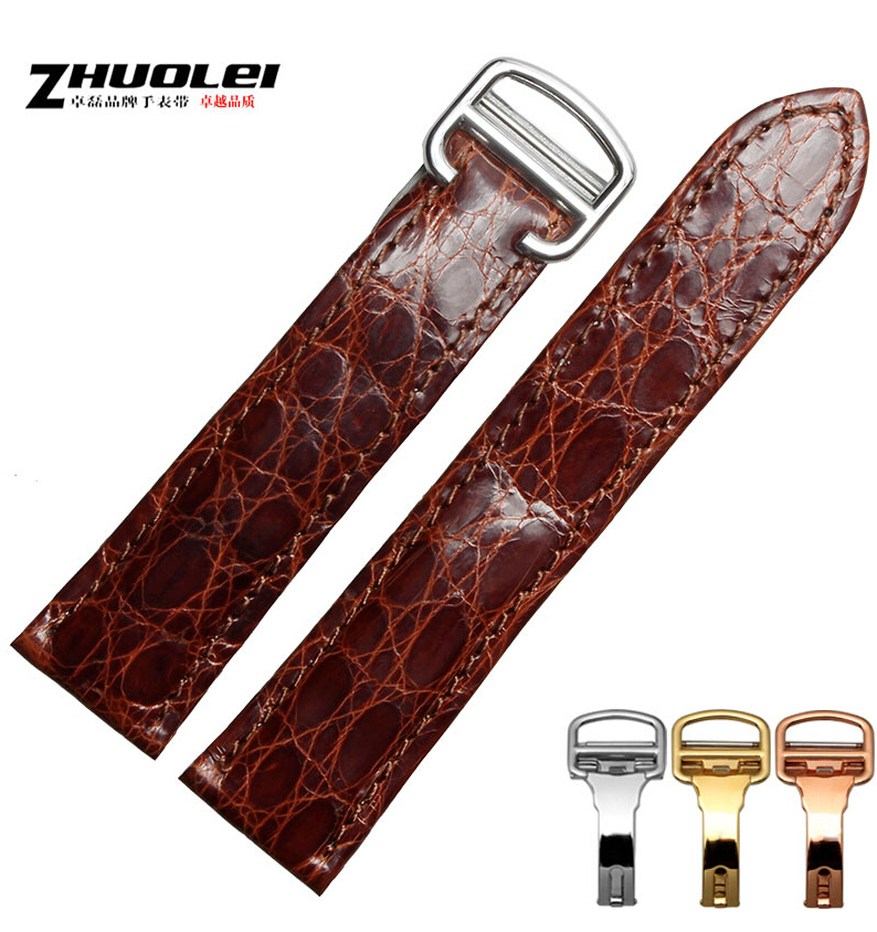 New 20mm 100% Top Grade Genuine Alligator Genuine Leather Watch Bands Strap Bracelets a015 south america alligator genuine leather strap 100