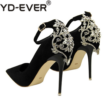 US  30.08. Women Luxury Crystal Pumps 10cm Thin High Heels Female Flock  Pumps Scarpins Pointed Toe Party Bridal Wedding Shoes 51cc46f8ac17
