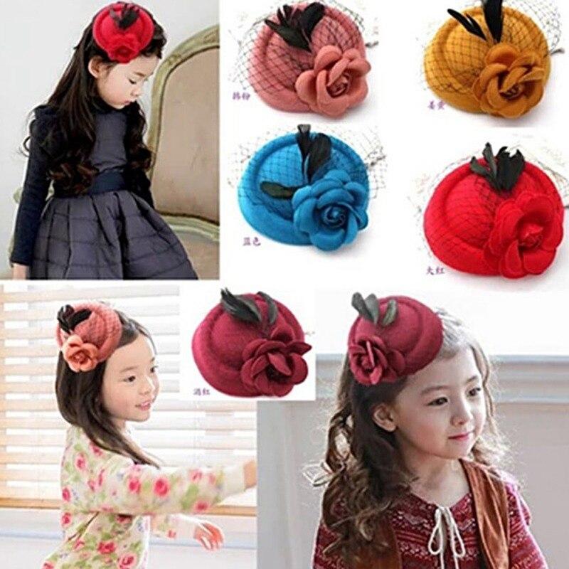 Girl Hairpin Headdress Accessories Flower England Fashion Girl Hairpin Beret Hat Hairpin Flower Cute Headdress