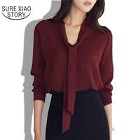 2017 lente nieuwe vrouwen kleding lange mouwen strikje shirt Koreaanse losse chiffon shirt vrouwen effen kleur blouse 699C 30