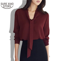 2017 Spring New Women Clothing Long Sleeved Bow Tie Floral Shirt Korean Loose Chiffon Shirt Women