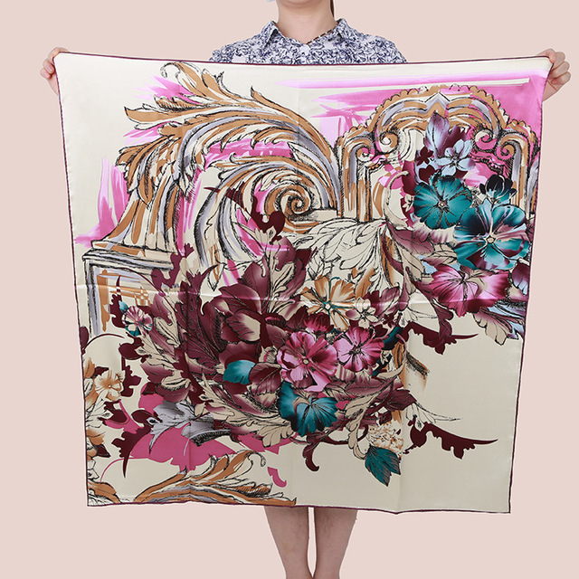 [15% OFF] Танцы феникс 90 см Элегантный Чистого шелка wrap женская большой Площади Шелковый Шарф, креп-сатин равнине площади шелковые шарфы
