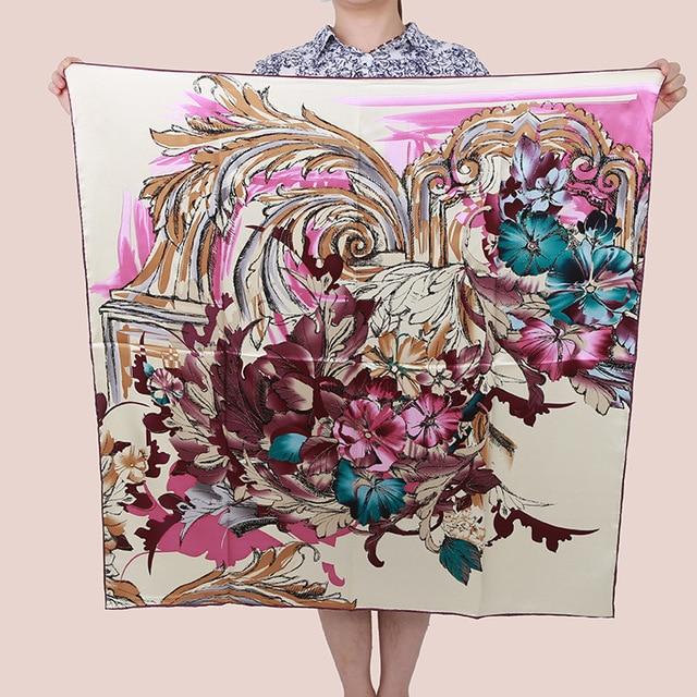 [15% OFF] Dancing phoenix 90cm Elegant Pure silk wrap Women's  big Square Silk Scarf, crepe satin plain square silk scarves