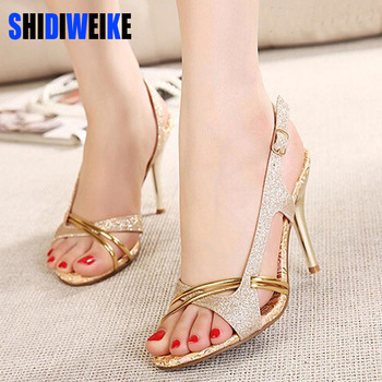 SHIDIWEIKE Women Sandal Thin High Heels Sandals Gold Ladies Summer Shoes Gladiator Heels open toe Hollow Out Bling Glitter PU