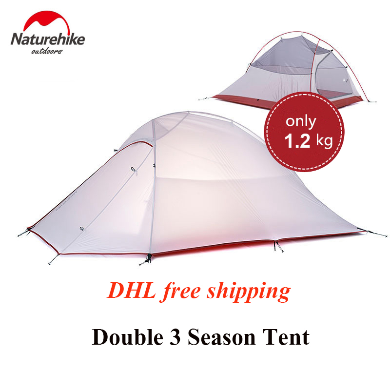 1.2KG Naturehike Tent 20D Silicone Fabric Ultralight 2 Person Double Layers Aluminum Rod Camping Tent 3 Season With 2 Person Mat naturehike 3 person camping tent 20d 210t fabric waterproof double layer one bedroom 3 season aluminum rod outdoor camp tent