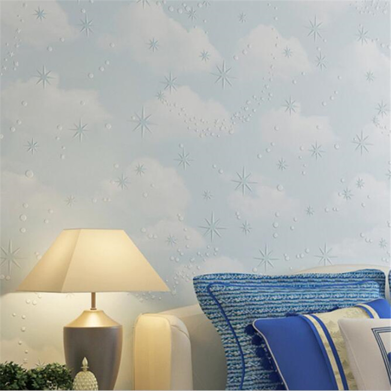 Beibehang Deep embossed pink blue sky white clouds stars papel de parede wallpaper children bedroom baby room wallpaper beibehang papel de parede england classic pink plaid wallpaper background wallpaper bedroom bedsidechildren s room girl