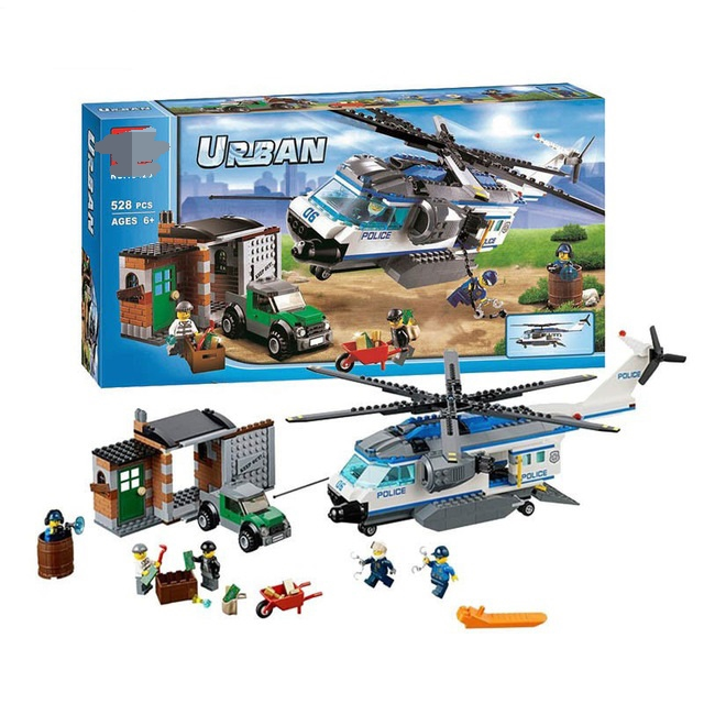 Police Crook Helicopter Surveillance Building Blocks Model Toy For