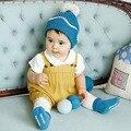 2016 Novas Crianças Primavera Contratada Malha de Algodão Do Bebê Bib Calças Curtas Estilo Coreano Bebê Da Menina Do Menino Macacão Amarelo Azul Cinza