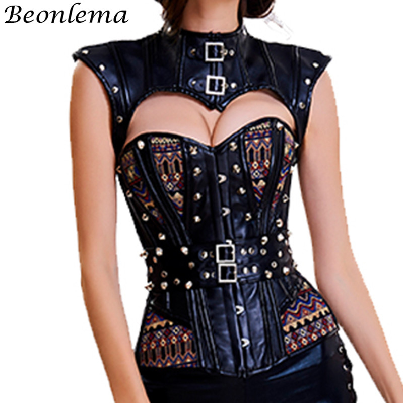Beonlema Steampunk   Corset   Rivet Gothic Korset Faux Leather   Bustiers     Corsets   Overbust   Corset   Sexy Korset Tops
