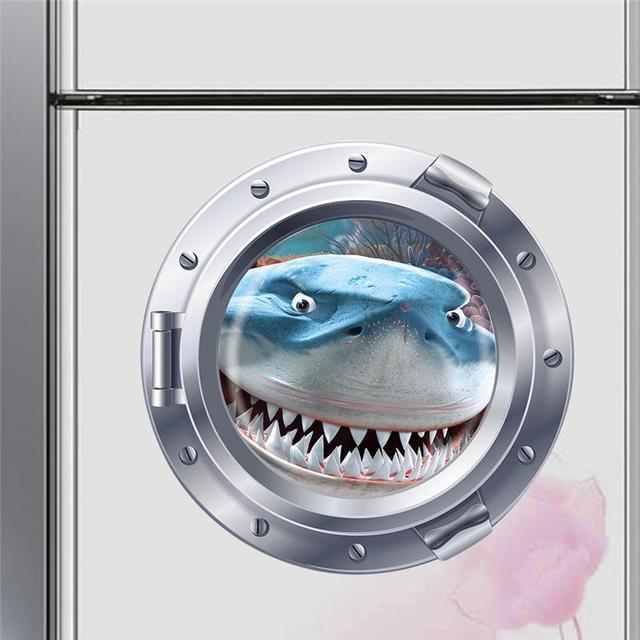 Big teeth shark fish submarine portholes wall stickers room decoration  025. home decals nursery animals mural art 4.0