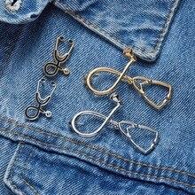 New Cute 2 Styles Brooches Pins Doctor Nurse Stethoscope Brooch Medical Jewelry Enamel Pin Denim Jackets Collar Badge