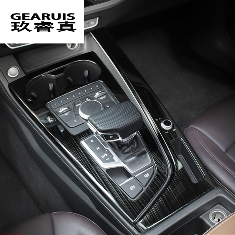 Car Styling For Audi A4 B9 LHD Stickers Decorative Cover trim Control Gear Shift Panel stainless steel lnterior auto Accessories executive car